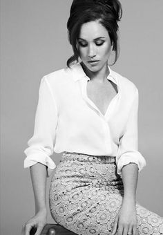 Meghan Markle from Suits--white blouse + lace skirt || perfect combo