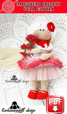 Crochet Doll Pattern - Lady in Red Amigurumi Doll, stuffed doll pattern, amigurumi doll pdf, diy amigurumi doll, diy crochet pattern Diy Crochet Patterns, Easy Crochet Projects, Crochet Doll Pattern, Amigurumi Patterns, Amigurumi Doll, Craft Patterns, Crochet Dolls, Doll Patterns, Red Pattern