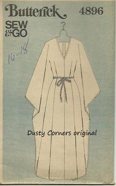 Butterick 4896 Sew  Go sewing pattern Caftan Large Rare