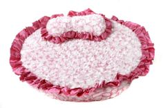 """$60 Princess Dog Bed - This Princess dog bed by """"The Shabby Dog"""" is so soft and beautiful your dog will sleep like a log. Removable pillow and cover that are machine washable. Perfect for the small to medium size dog. Dog bed bag included which is perfect for travel. Matching Prince blanket with matching dog bone pillow also available. Made in the USA. Size: 24"""" x 24"""" Size: 30"""" x 30"""""""
