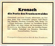 Original-Werbung/ Anzeige 1928 - KRONACH - DIE PERLE DES FRANKENWALDES - ca. 120 x 100 mm