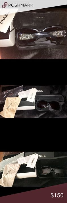 AUTHENTIC CHANEL SUNGLASSES MUST SEE! This is a used pair of authentic owned by only me, Chanel Starburst Swarovski Black Sunglasses. You will get everything you see in the photo and the lenses say Chanel and have a serial number etched on them. Some stones are missing from the glasses and the case. They have been used and show wear but are still worth owning. CHANEL Accessories Sunglasses