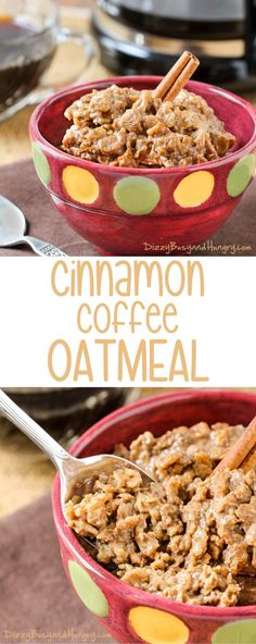Cinnamon Coffee Oatmeal | http://DizzyBusyandHungry.com - Warm and comforting, this quick and easy oatmeal is perfect for a chilly morning!