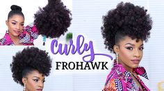 Faux Hawk Using a Drawstring Ponytail | How to Do a Curly Frohawk [Video] - https://blackhairinformation.com/video-gallery/faux-hawk-using-drawstring-ponytail-curly-frohawk-video/