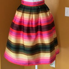 """RAINBOW FULL SKIRT HPABSOLUTELY beautiful!! Lined. Stand out at wedding or a special occasion. Banded waist. Pleated waist. Zipper in rear. Waist 12.5"""" flat. 27"""" Length. -No trades. Skirts A-Line or Full"""