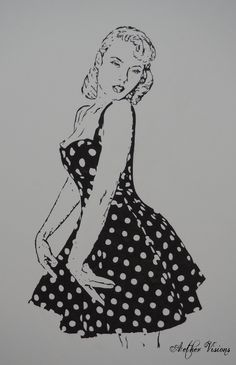 "Portfolio - Aether Visions ""Polka dots"" in black Chinese ink. I have been always fascinated by the pin-up girls fashion."
