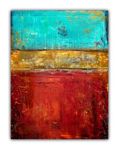 Abstract Painting  Heavy Textures  Red Blue and Gold by LizMosLoft