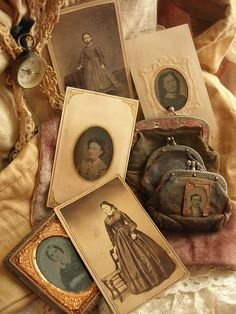 Old coin purses and cabinet photo cards