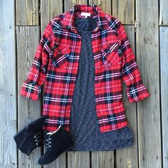 Enjoy your #sundayfunday with some plaid  You'll instantly love this effortless look for those crisp fall days!  | Plaid $34 | Dress $29 | Shearling lined @toms wedges $119 | #fallfavorites #newarrivals #shopjuneandbeyond #juneandbeyond #layering #OOTD #under40