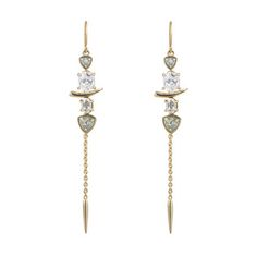 Multistone Dangling Spear Earring