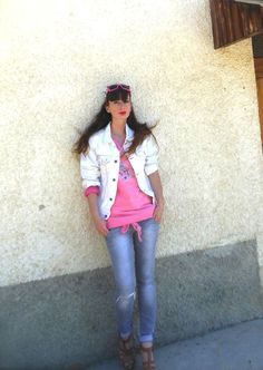 #diy #denimjackets #fashionblogger #sunnies #decorated sunnies #pink #sweater #wedges #outfitblogger #summerlooks #summer2013 #summertrend #accessories #mariagraziapanizzi #moschino