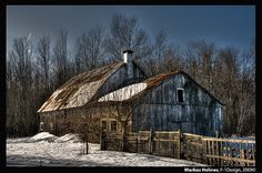 Abandoned Barn—Ottawa, Ontario - There's so much beauty still left to be discovered in this wood! Old barns such as these are source/inspiration for our authentic reclaimed barn wood furniture, handmade in the USA  - see our furniture  at our showrooms in Bird in Hand, PA and Intercourse, PA, right in the heart of Lancaster County, PA -  Pennsylvania Dutch Country.. www.braunfarmtables.com