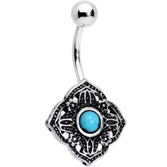 Blue Orb Southwestern Symbol of Simplicity Belly Ring