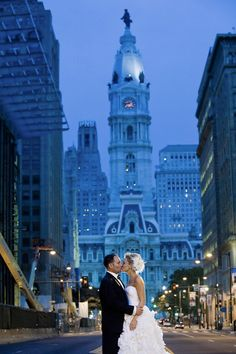 An iconic Philadelphia wedding shot: Avenue of the Arts with City Hall in the background. (Photo by Maloman Photographers)