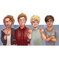 This drawing is awesome :D - made by @cecewhat | || 5SOS Fan Art || |... ❤ liked on Polyvore featuring home and home decor