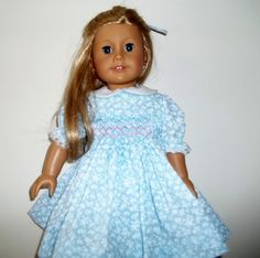 American Girl blue smocked dress with hearts. by Marshasminiatures, $25.00