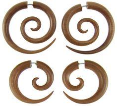 Sawo+Wood+Fake+Gauge+Spiral+Earrings