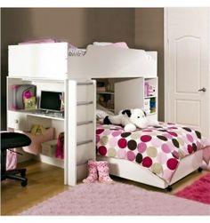 Girls loft bed with desk simple girl loft bed desk furniture girls Cheap Bunk Beds, Bunk Beds Small Room, Bunk Bed Sets, Girls Bunk Beds, White Bunk Beds, Bunk Beds With Drawers, Bunk Bed With Desk, Loft Bunk Beds, Modern Bunk Beds