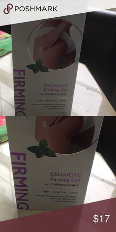 Cellulite firming gel with caffeine & mint new Brand new sealed box 6oz Cellulite gel with caffeine and mint firm tighten and tone while it gets rid of cellulite. I have used this brand and this is the best one I have used. I saw results in a little as 2