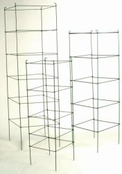 """These Folding Tomato Cages are a great idea for people that do not have alot of room. They fold flat for easy storage. These cages are heavy duty and will last for years. They come in Powder Coated Green over galvanized steel, or a plain galvanized finish. The sizes are 48""""x15"""" square, 60""""x18"""" square, 72""""x21"""" sqaure. Please call for bundle count."""