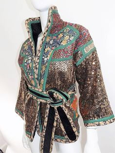 Koos Van Den Akker rare evening sequin gold brocade smoking jacket coat | From a collection of rare vintage jackets at https://www.1stdibs.com/fashion/clothing/jackets/