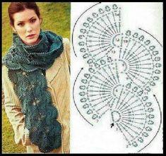 Pin about Crochet scarves, Crochet and Crochet scarf tutorial on wzory Crochet Diagram, Crochet Chart, Crochet Motif, Crochet Lace, Crochet Stitches, Free Crochet, Crochet Patterns, Crochet Flower, Crochet Scarf Tutorial