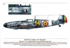 """Messerschmitt Bf 109G-2 yellow 14 """"Monika"""" Messerschmitt Bf 109 in Romania Mushroom Model Publications"""
