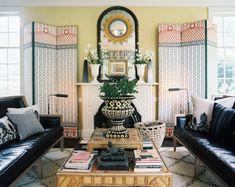 French Bohemian Decor | Bohemian Living Room Photo - Decorative screens flanking a white ...