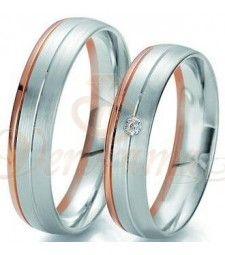 Βέρες γάμου δίχρωμες με διαμάντι Breuning 6203-6204