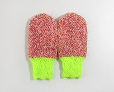 Neon Yellow and Red Hand Knitted Mittens.