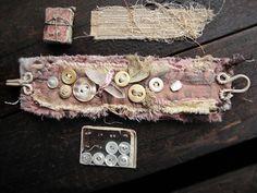 Self Reliance - vintage textile wrist cuff - vintage lace - antique buttons - quartz crystal, im noticing the clasp. Fabric Bracelets, Lace Bracelet, Bracelet Cuir, Cuff Bracelets, Ribbon Jewelry, Jewelry Crafts, Jewelry Art, Handmade Jewelry, Textile Jewelry
