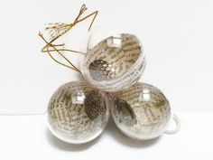 Steampunk Christmas bauble tree decoration/ornament - golden book page - steampunk decoration - tree ornament - gold decoration - rustic