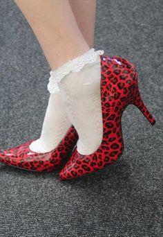 Office Red Punk animal Leopard print Heel Stilettos shoes from Pretty Disturbia £15