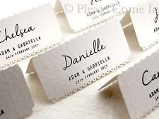 Personalised White Vintage Lace Wedding Place Cards/Escort Cards
