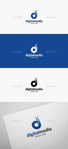 Digital Media Logo: Letter Logo Design Template by flatos. Digital Media Companies, Digital Media Marketing, Internet Logo, Logo Inspiration, Communication Logo, Architecture Logo, Typo Logo, Media Logo, Letter Logo