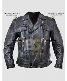 MENS ARMORED BLACK LEATHER BIKER OUTERWEAR