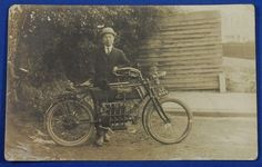 1900's British Photo Postcard : Early motorcycle & a Japanese / engine bicycle 1908 / Belgium Belgian , the FN4 Motor FN4 Motorbike the first 4 cylinder motorcycle RPPC / vintage antique old art card / Japanese history historic paper material Japan automobile