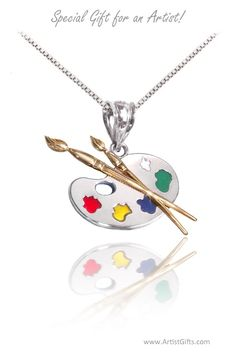 Our sterling silver & gold palette necklace makes a special gift for an artist or art lovers! Free U.S. shipping everyday at: www.ArtistGifts.com
