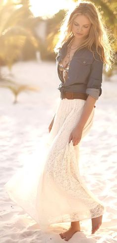 Beachy Chambray & Lace Dress