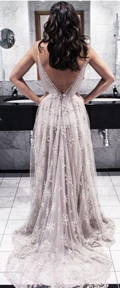 Lace Prom Dresses V-Neck Backless Prom Dresses Evening Party Dresses pst1311 on Storenvy
