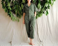 Don's Army Green Jumpsuit 80's Mechanic Workwear by continuall