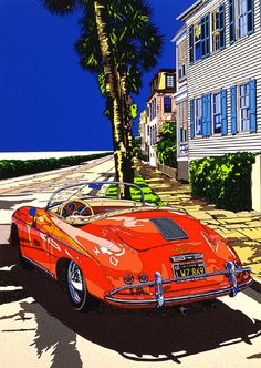 Getting through in the Speeds by Eizin Suzuki Noon Manga Illustration, Landscape Illustration, Porsche 356 Speedster, Porsche 911, Mobile Art, California Art, Mid Century Art, Car Drawings, Automotive Art