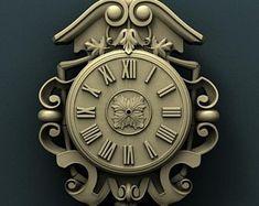 STL Model Relief Clock for CNC Router Aspire Artcam for sale online Rose Clock, Mechanical Clock, Clock Art, Mirror Painting, Wood Clocks, Cnc Machine, Cnc Router, Carving, Model