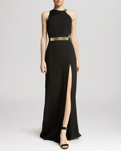 HALSTON HERITAGE Gown - Asymmetric Strap Slit Front   Bloomingdale's