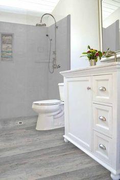 Sterling Oak with Wet Cement Walls & Trim LifeProof Alcove Wood Collection Shower Kit - American Bath Factory Oak Bathroom, Grey Bathrooms, Bathroom Ideas, Bathroom Beach, Bathroom Remodeling, Vinyl Wood Flooring, Wood Vinyl, Seasoned Wood, Cement Walls