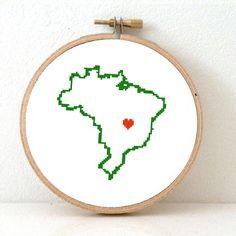 BRAZIL map modern cross stitch pattern. Brazil art. Carnaval gift. Brazil poster Brasilia map. Brasilia map.