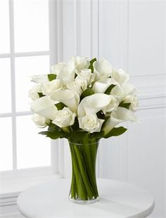White Rose and Cala Lily Arrangement
