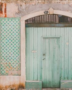 Travel Photograph, Fine Art Travel Photograph, Travel Photo Mint door photo taken in Lisbon, Portugal, where I live. Lisbon is one of the most The Doors, Windows And Doors, Front Doors, Verde Vintage, Mint Color, Decoration, Entrance, Beautiful Places, Photo Wall