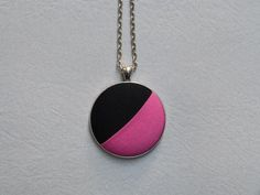 Pink & black minimalist necklace  by 9thCycleCraftworks #colorblock #minimalist #jewelry #eco #zerowaste #necklaces #pink