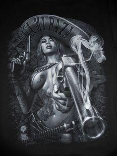 Mexicana and Smoking gun. Arte Cholo, Cholo Art, Chicano Art Tattoos, Chicano Drawings, Dark Fantasy Art, Fantasy Girl, Arte Lowrider, Mexican Art Tattoos, Aztec Tattoo Designs